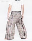 one of a kind wrap around traditional pajamas unique cool rusty gray stripe handwoven cotton loose fit unisex fold over waist yoga trousers jm6 back