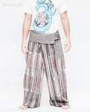 one of a kind wrap around traditional pajamas unique cool rusty gray stripe handwoven cotton loose fit unisex fold over waist yoga trousers jm6 front