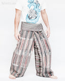 one of a kind wrap around traditional pajamas unique cool rusty gray stripe handwoven cotton loose fit unisex fold over waist yoga trousers jm6 side