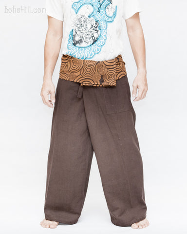 organic cotton thai fisherman pants plain brown patterned fold over waist tribal circular bubble design low crotch wrap around pajamas front