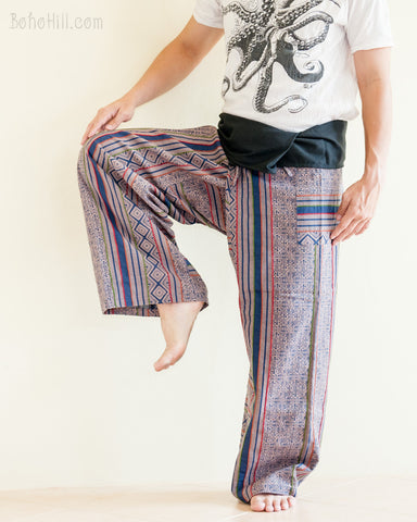 original full body hmong embroidery low crotch thai fisherman pants loose fit comfortable flexible wrap around tribal pajamas fold over waist blue sol fw9 dance