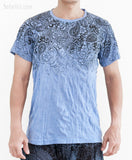 Paisley Om Shanti Tribal Design Crinkle Men's T-Shirt with Pocket Cool Blue front