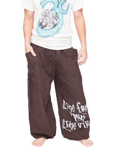 Parkour Active Aladdin Bloomers Hip Hop Graffiti Etre Fort Pour Etre Utile Convertible (Brown) front