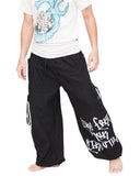 Parkour Flow Active Aladdin Bloomers Pants Etre Fort Pour Etre Utile Convertible (Black) walk