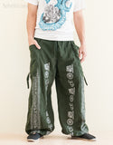 Parkour Pants Aladdin Bloomers Convertible to Capri Pants Hindu Om Script Pattern Green