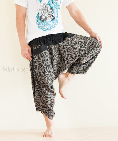 Parkour Pants Ninja Style Samurai Harem Trousers Black Broken Rock