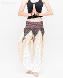 Peacock Feather Comfy Yoga Pants Soft Genie Harem Pants (White) namaste