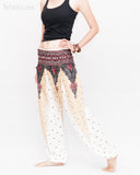 Peacock Feather Comfy Yoga Pants Soft Genie Harem Pants (White) side