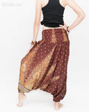 Peacock Harem Pants Low Crotch Genie Yoga Trousers (Brown II) back