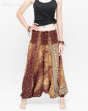 Peacock Harem Pants Low Crotch Genie Yoga Trousers (Brown II) front