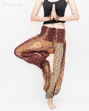 Peacock Harem Pants Low Crotch Genie Yoga Trousers (Brown II) namaste