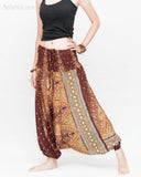 Peacock Harem Pants Low Crotch Genie Yoga Trousers (Brown II) side