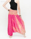 Peacock Harem Pants Low Crotch Genie Yoga Trousers (Pink II) back