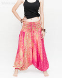 Peacock Harem Pants Low Crotch Genie Yoga Trousers (Pink II) front