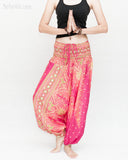 Peacock Harem Pants Low Crotch Genie Yoga Trousers (Pink II) namaste