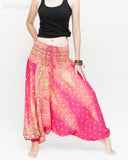 Peacock Harem Pants Low Crotch Genie Yoga Trousers (Pink II) wide