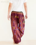 peacock teardrop yoga pants soft light rayon genie aladdin bloomers pajamas psychedelic eyes burgundy back