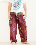peacock teardrop yoga pants soft light rayon genie aladdin bloomers pajamas psychedelic eyes burgundy front