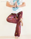 peacock teardrop yoga pants soft light rayon genie aladdin bloomers pajamas psychedelic eyes burgundy namaste