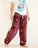 peacock teardrop yoga pants soft light rayon genie aladdin bloomers pajamas psychedelic eyes burgundy walk