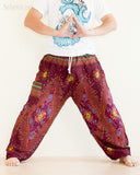 peacock teardrop yoga pants soft light rayon genie aladdin bloomers pajamas psychedelic eyes burgundy wide