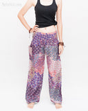 Phoenix Feather Comfy Yoga Pants Soft Genie Harem Pants (Pink) front