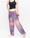Phoenix Feather Comfy Yoga Pants Soft Genie Harem Pants (Pink) side