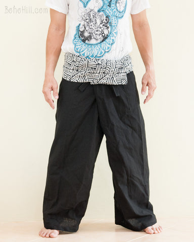 Plain Black Thai Fisherman Pants Broken Rock Tribal Pattern front