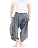 plain solid gray ninja style active harem pants airy pull on shirred elastic waist flexible low crotch cropped flow pants large pockets back