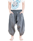 plain solid gray ninja style active harem pants airy pull on shirred elastic waist flexible low crotch cropped flow pants large pockets front