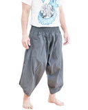 plain solid gray ninja style active harem pants airy pull on shirred elastic waist flexible low crotch cropped flow pants large pockets side