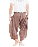 plain solid safari khaki brown ninja style active japanese harem pants airy pull on shirred elastic waist flexible low crotch cropped flow pants large pockets back