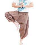 plain solid safari khaki brown ninja style active japanese harem pants airy pull on shirred elastic waist flexible low crotch cropped flow pants large pockets dance