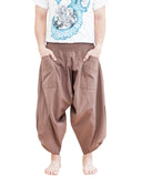 plain solid safari khaki brown ninja style active japanese harem pants airy pull on shirred elastic waist flexible low crotch cropped flow pants large pockets front