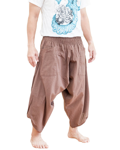plain solid safari khaki brown ninja style active japanese harem pants airy pull on shirred elastic waist flexible low crotch cropped flow pants large pockets side