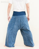 premium soft weaving textured cotton fisherman pants denim blue worn out back