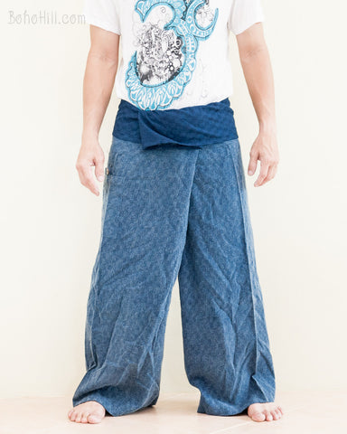 premium soft weaving textured cotton fisherman pants denim blue worn out front