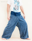 premium soft weaving textured cotton fisherman pants denim blue worn out side