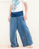 premium soft weaving textured cotton fisherman pants denim blue worn out walk