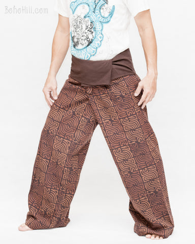premium thai fisherman pants handmade wrap around pajama trousers high quality soft cotton fold over waist ancient tribal square sayagata design rustic brown left