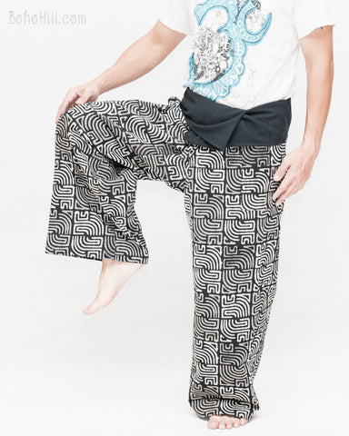 premium thai fisherman pants handmade wrap around pajama trousers high quality soft cotton fold over waist rustic maya tribal square sayagata design black white dance