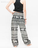 primitive tribal elephant loose fit yoga pants aladdin genie shirred waist bloomers soft rayon pajamas black back