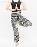 primitive tribal elephant loose fit yoga pants aladdin genie shirred waist bloomers soft rayon pajamas black namaste
