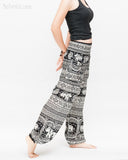primitive tribal elephant loose fit yoga pants aladdin genie shirred waist bloomers soft rayon pajamas black side