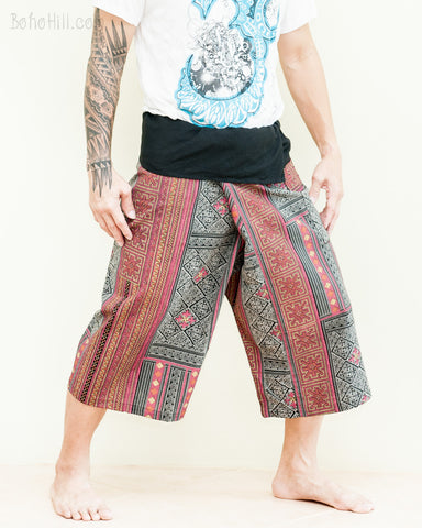 red mountain tribal Thai fisherman capris pants relaxed wrap around fold over waist yoga shorts low crotch jungle pajamas side