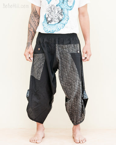 samurai capri ninja pants urban active parkour airy flow cropped harem trousers shirred elastic waist two tone black diamond weave II front