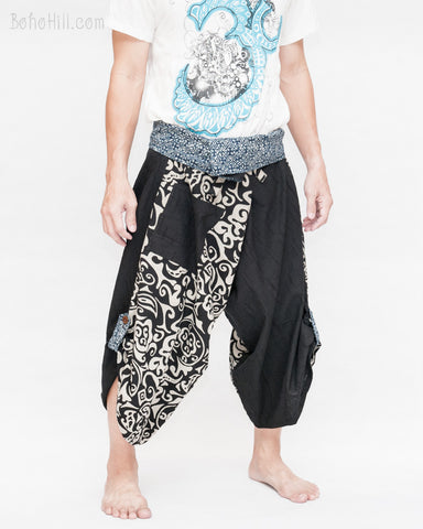 samurai hakama pants wrap around fold over indigo waist active flexible burning man tribal dance ninja warrior cropped trousers unique parkour flow pants black chinese warrior side