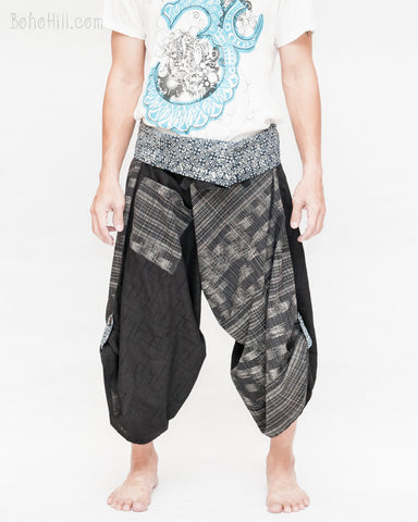 samurai hakama pants wrap around fold over indigo waist active flexible burning man tribal dance ninja warrior cropped trousers unique parkour flow pants black japanese weave front