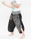 samurai hakama pants wrap around fold over indigo waist active flexible burning man tribal dance ninja warrior cropped trousers unique parkour flow pants black japanese weave side