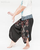 samurai hakama pants wrap around fold over indigo waist active flexible burning man tribal dance ninja warrior cropped trousers unique parkour flow pants black red bamboo left